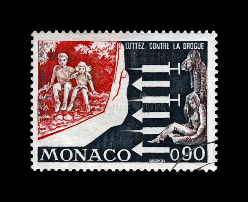 Faccia una campagna contro dipendenza di droghe fra la gioventù, lotta contro l'edizione del drogato, Monaco, circa 1973, immagini stock