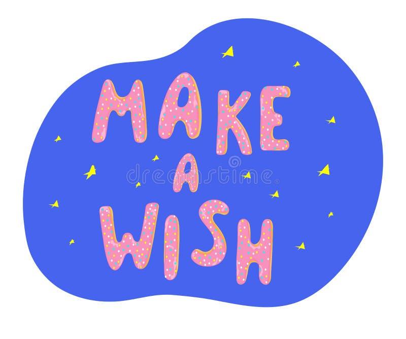 Faccia una carta di desiderio con le stelle e le guarnizioni di gomma piuma che ghiacciano le lettere illustrazione vettoriale