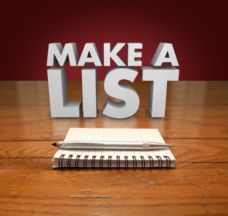 Faccia una carta Pen Table del blocco note di parole della lista 3d royalty illustrazione gratis