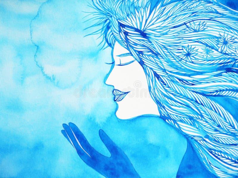 Faccia una pittura dell'acquerello di natale della neve dell'inverno di angelo di desiderio illustrazione vettoriale