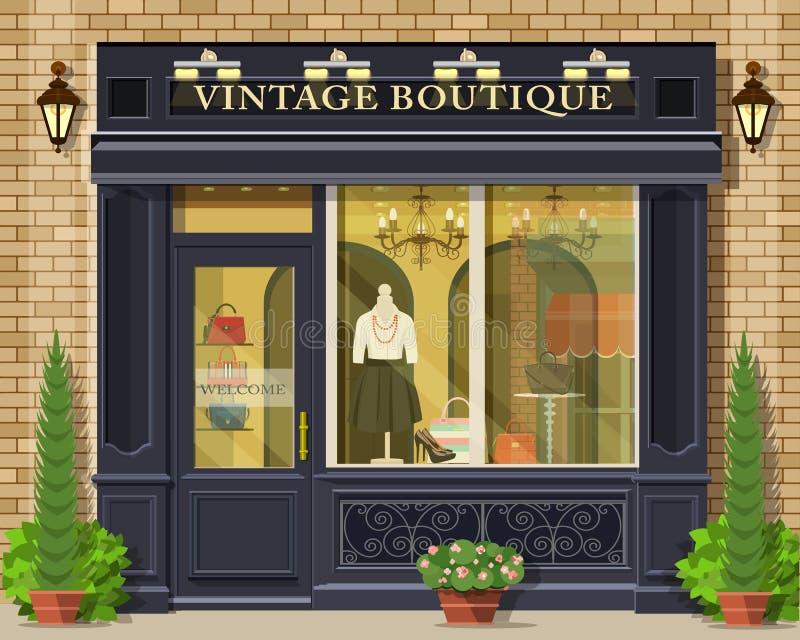 Facciata d'annata del boutique di progettazione piana dettagliata di vettore Esterno grafico fresco del negozio di modo illustrazione di stock