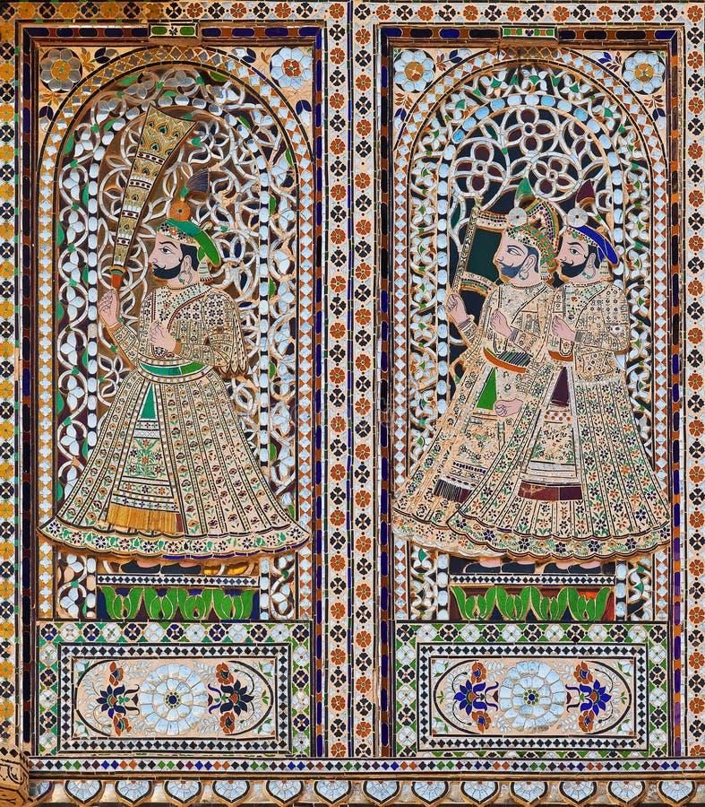 Facciata decorata nel palazzo della citt? di Udaipur, Ragiastan, India fotografie stock