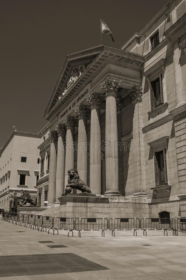 Facciata dei las Cortes di Palacio de a Madrid immagini stock libere da diritti