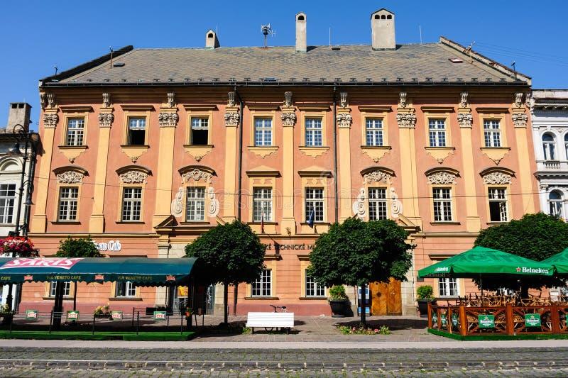 Facciata del Barocco-classicista del museo tecnico slovacco in Kosi fotografia stock