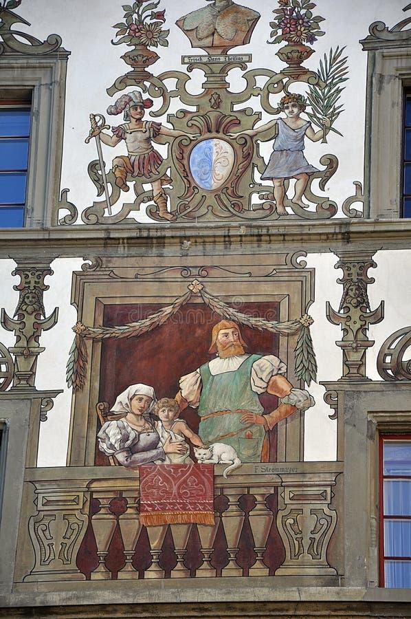 Facciata del dettaglio di vecchia casa Lucerna switzerland immagine stock libera da diritti