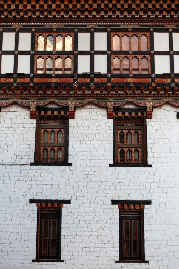 Facciata del monastero a Thimphu, la capitale di Trashi Chhoe Dzong del Bhutan immagine stock