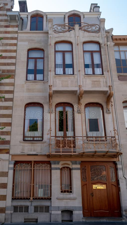Facciata del museo di Horta a Bruxelles, Belgio, costruito nello stile di Art Nouveau dall'architetto belga ben noto Victor Horta fotografia stock libera da diritti