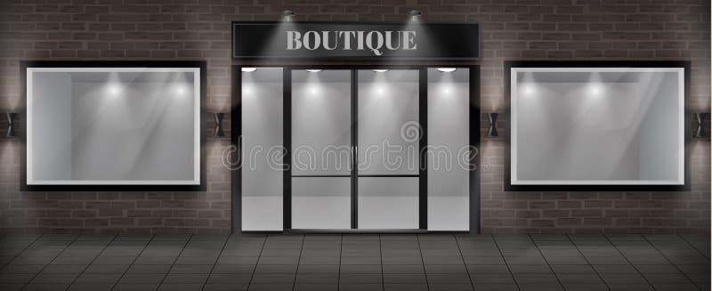 Facciata del negozio del boutique di vettore con l'insegna illustrazione vettoriale