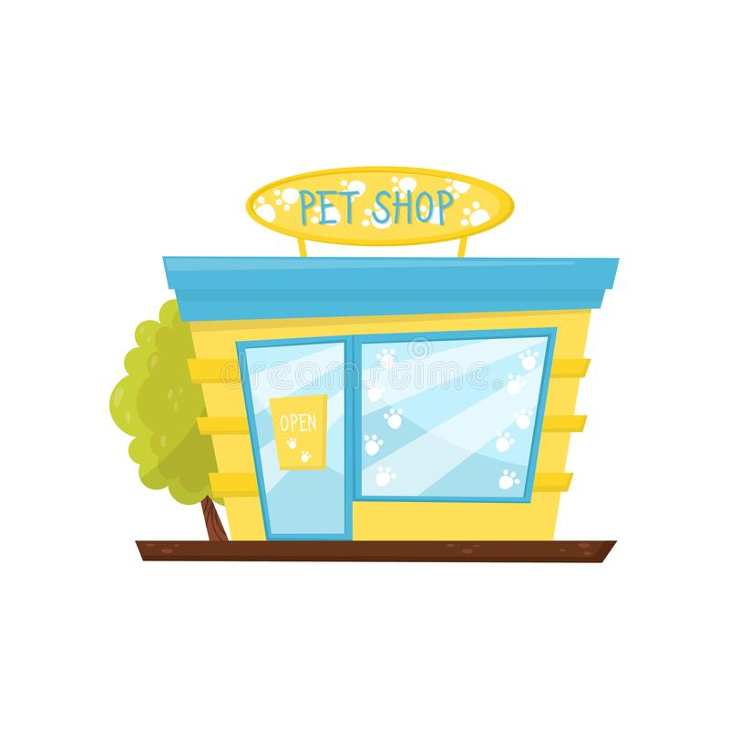 Facciata del negozio di animali Deposito delle merci animali Costruzione commerciale con l'insegna, la grande finestra di vetro e illustrazione vettoriale