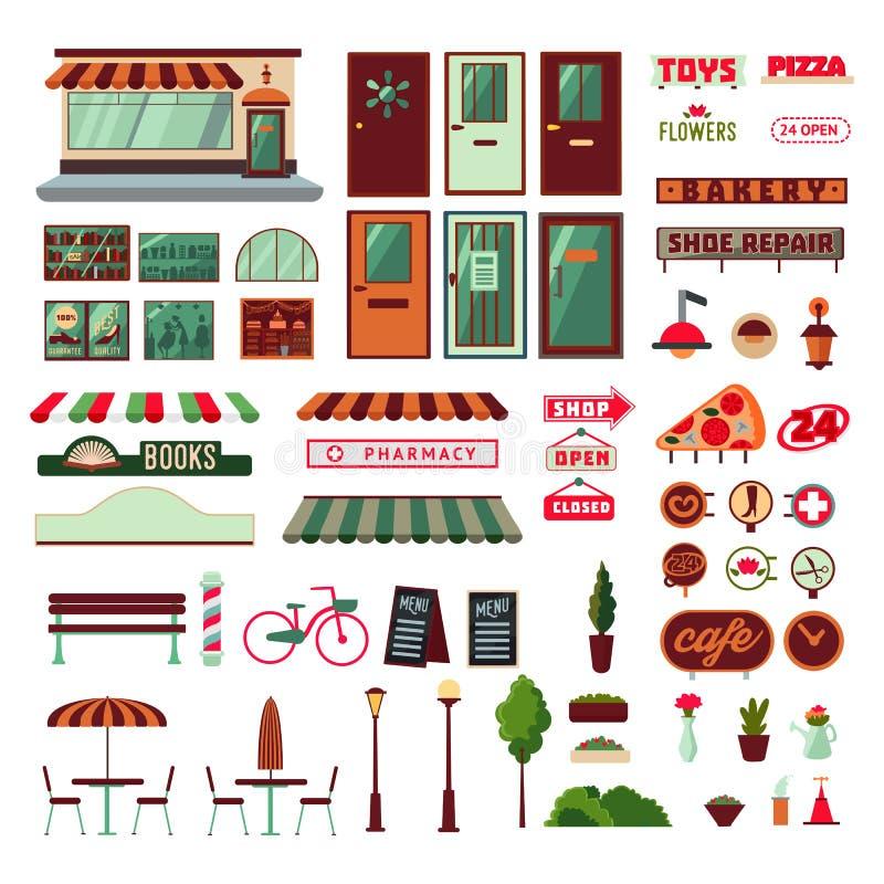 Facciata del negozio ed insieme di elementi esteriore illustrazione di stock