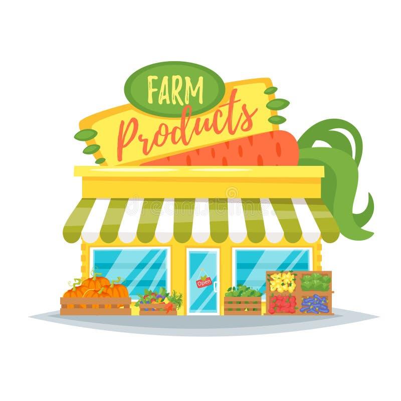 Facciata del negozio del prodotto di fattoria illustrazione di stock
