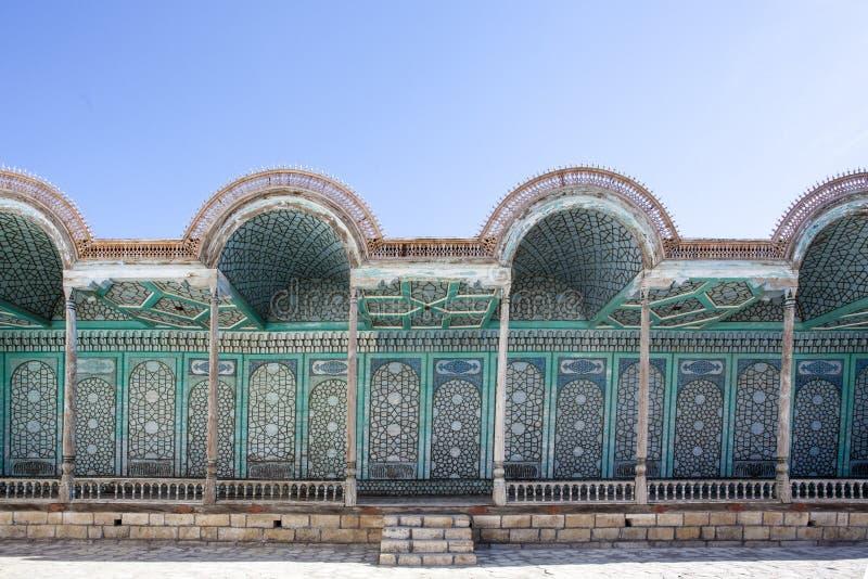 Facciata del palazzo Mohihosa dell'emiro a Buchara, l'Uzbekistan, Asia centrale fotografia stock libera da diritti