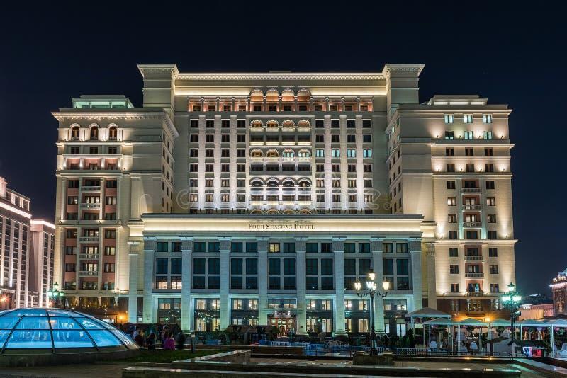 Facciata dell'hotel di quattro stagioni a Mosca, Russia immagine stock libera da diritti
