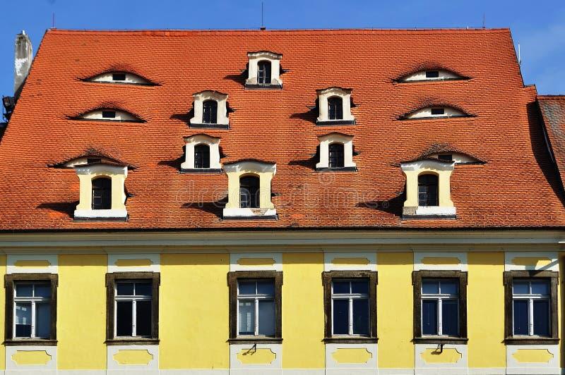 Facciata della casa nella città di Cheb, Repubblica ceca immagini stock