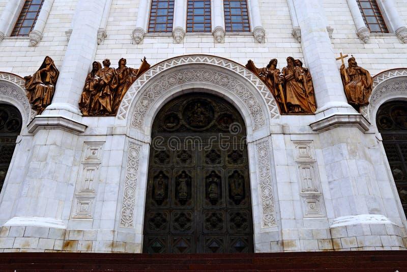 Facciata della cattedrale di Cristo il salvatore a Mosca immagini stock