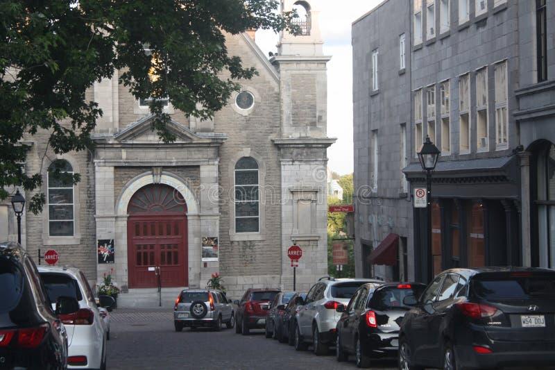Facciata della chiesa, Rue St Paul, vecchia Montreal immagine stock