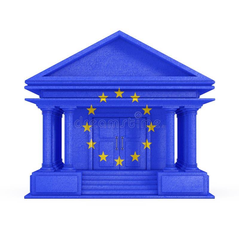 Facciata della costruzione della Banca, della corte o di governo con la bandiera di Unione Europea rappresentazione 3d illustrazione di stock