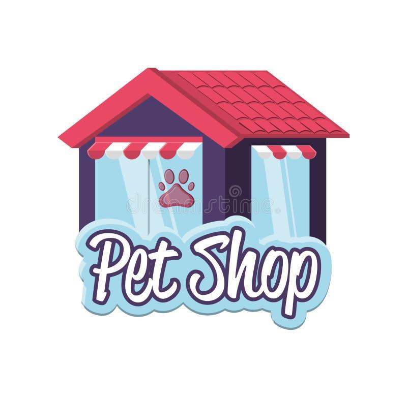 Facciata della costruzione del negozio di animali illustrazione di stock