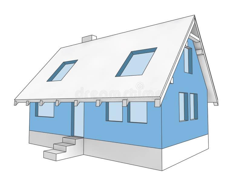 Facciata della costruzione dell'icona dello schema della casa illustrazione di stock