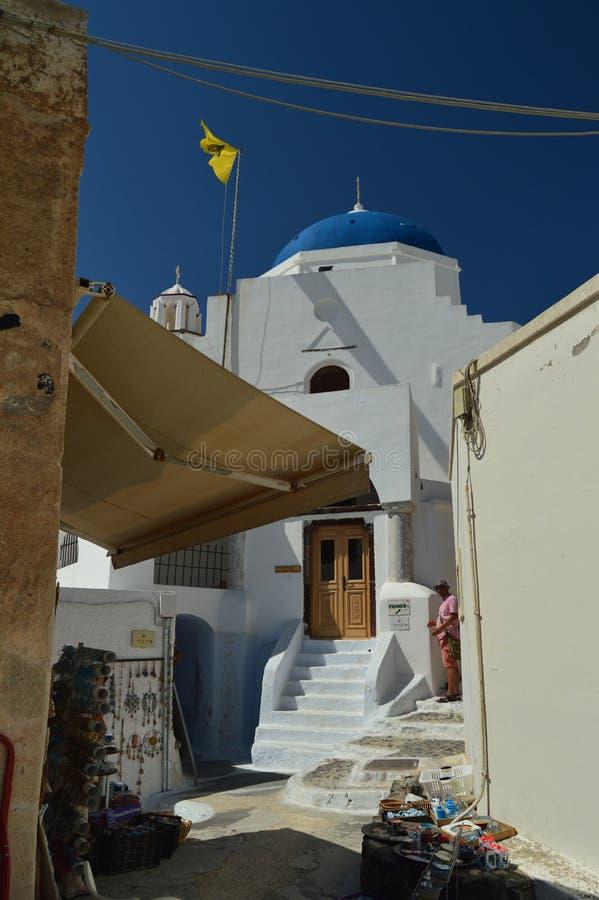 Facciata di bella Camera di Pyrgos Kallistis sull'isola di Santorini Viaggio, crociere, architettura, paesaggi fotografia stock libera da diritti