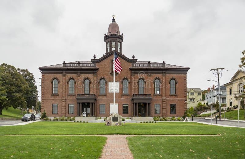 Facciata di municipio storico, Plymouth, mA U.S.A. immagini stock libere da diritti