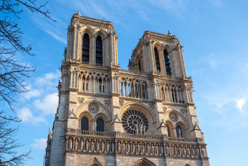 Facciata di Notre-Dame de Parigi, chiesa medievale della cattedrale a Parigi, Francia fotografia stock libera da diritti