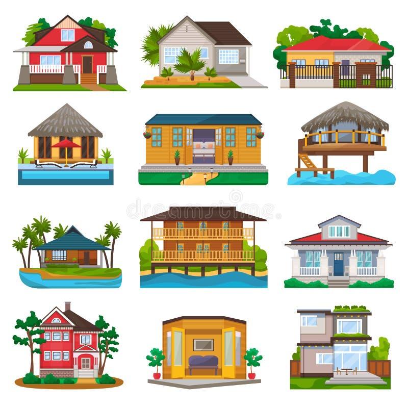 Facciata di vettore della villa della costruzione di casa e dell'hotel di località di soggiorno tropicale sulla spiaggia dell'oce royalty illustrazione gratis