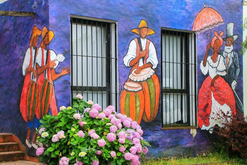 Facciata dipinta della costruzione di associazione degli artisti visivi in Colonia immagini stock libere da diritti