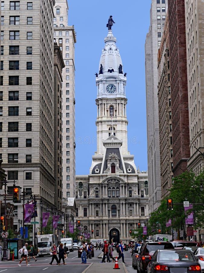 Facciata e torre barrocco del comune di Filadelfia immagine stock libera da diritti
