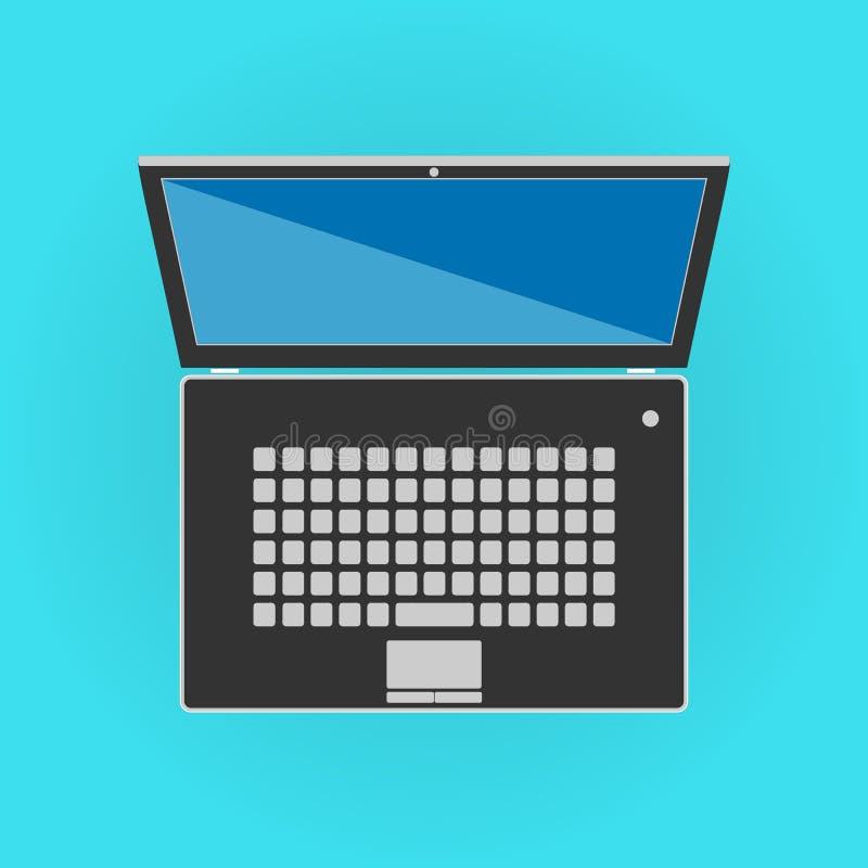 Facciata frontale isolata il nero del computer portatile illustrazione di stock