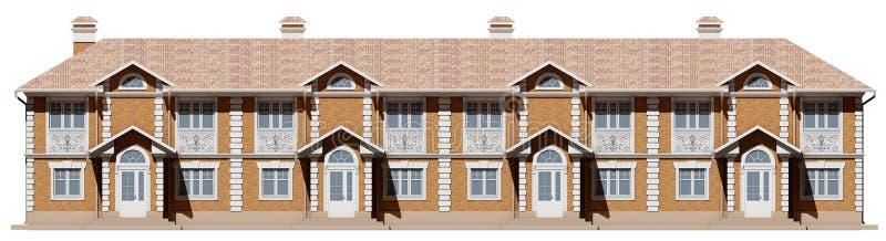 Facciata principale delle case urbane Case della via in 3d immagine stock libera da diritti