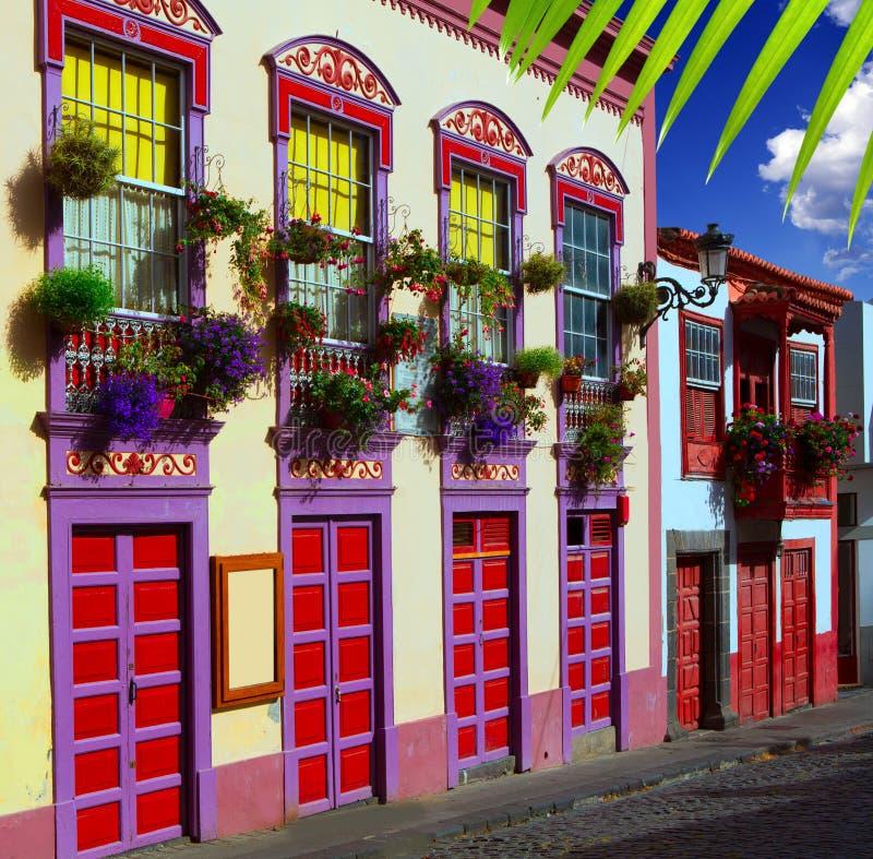 Facciate coloniali della casa di Santa Cruz de La Palma fotografie stock libere da diritti