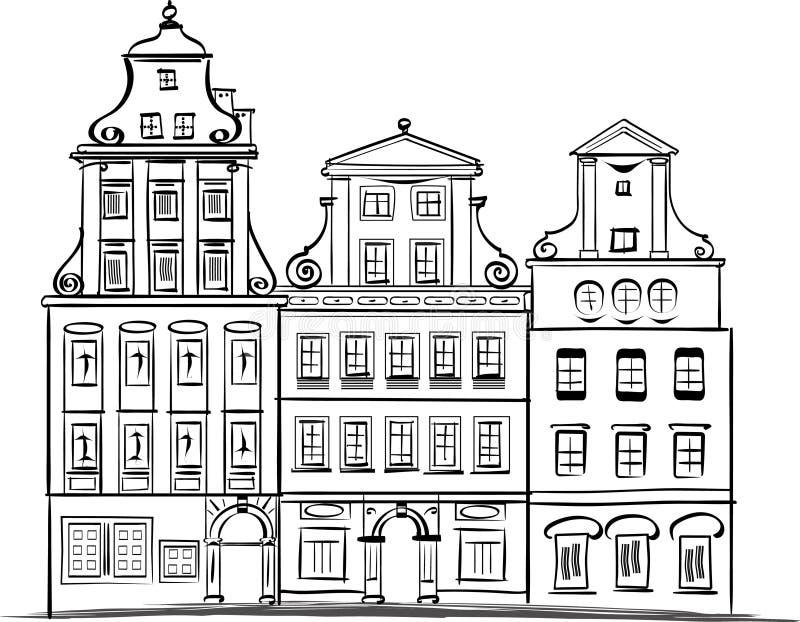 Facciate del quadrato di Wroclaw Rynek illustrazione di stock