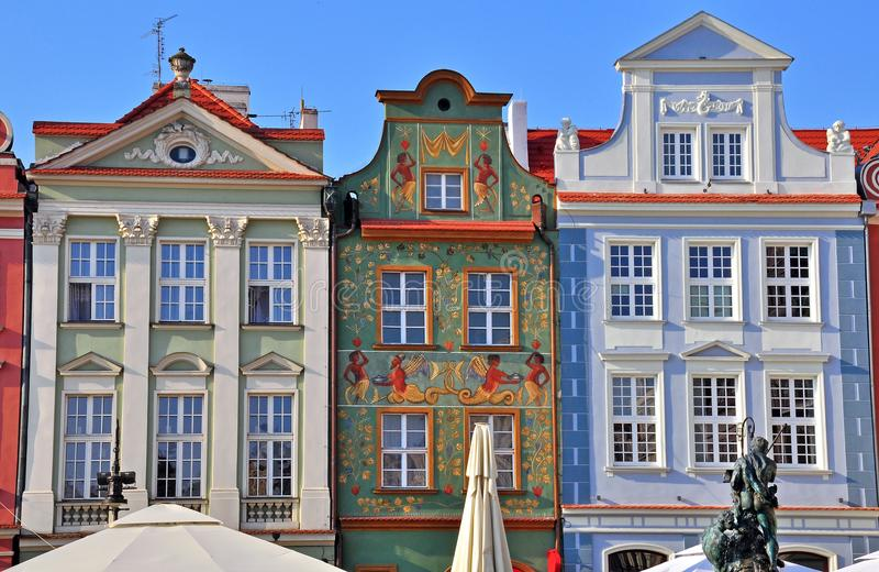 Facciate delle case a Poznan immagine stock libera da diritti