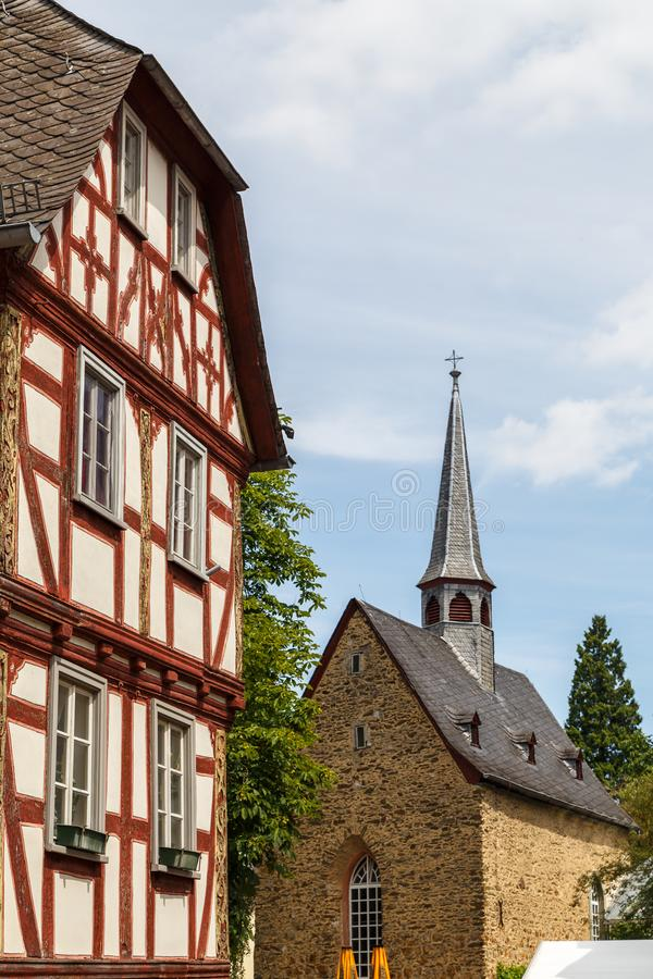 Facciate a graticcio di vecchia città di Limburgo immagini stock