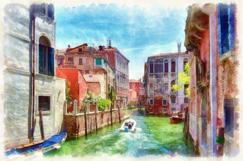 Facciate variopinte di vecchie case medievali sopra un canale a Venezia illustrazione vettoriale