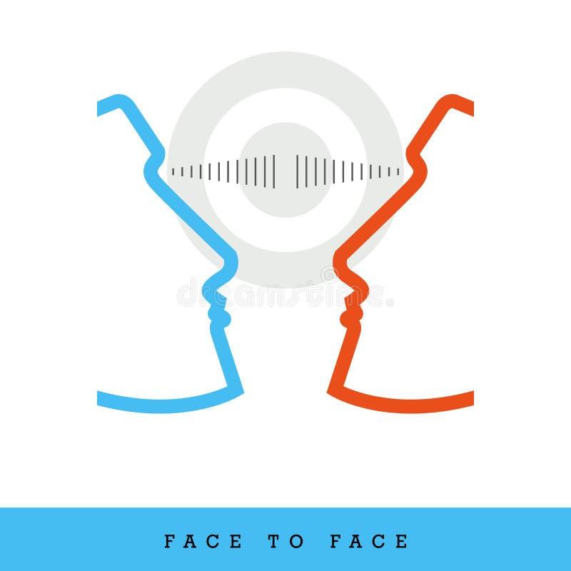 Face à face, dialogue, objectif commun a rapporté le style plat et la ligne mince icône, illustration de vecteur illustration libre de droits