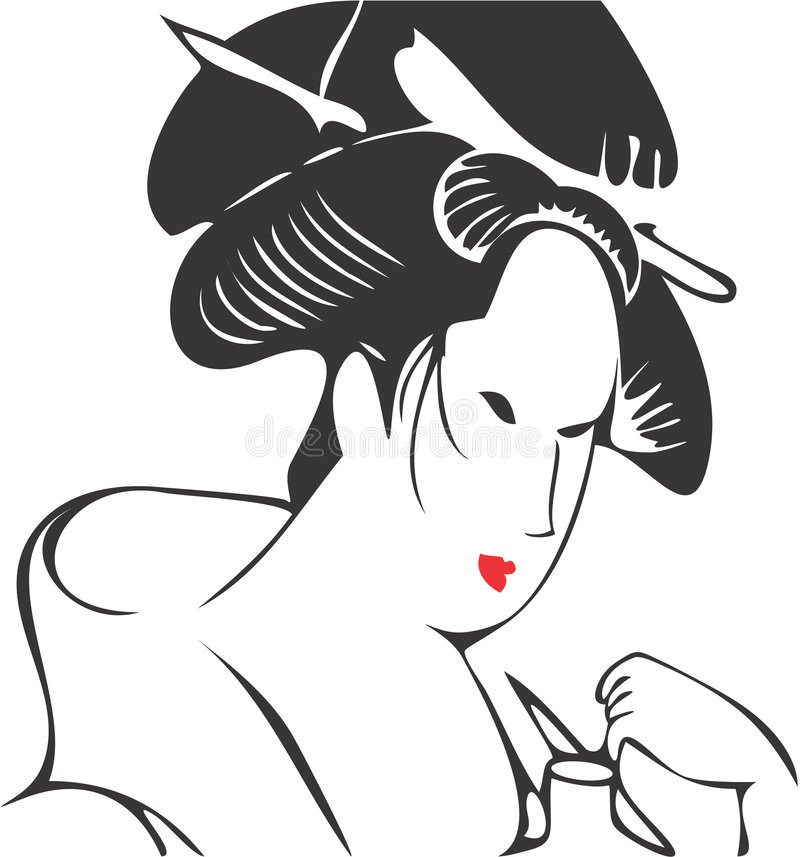 Cara 07 da gueixa ilustração royalty free