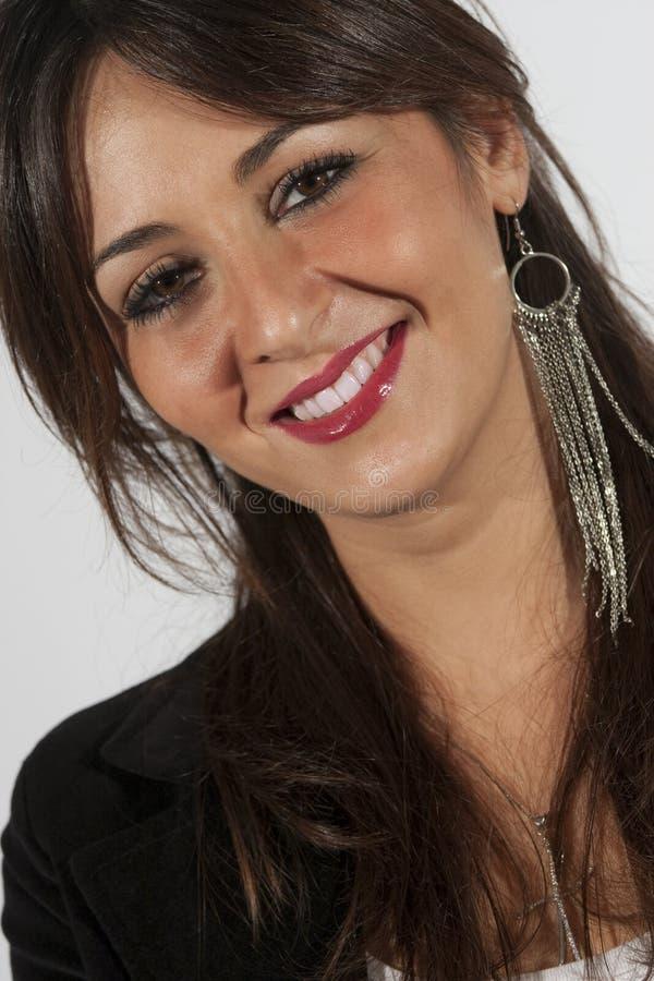 Face adolescente bonita do sorriso da mulher fotos de stock