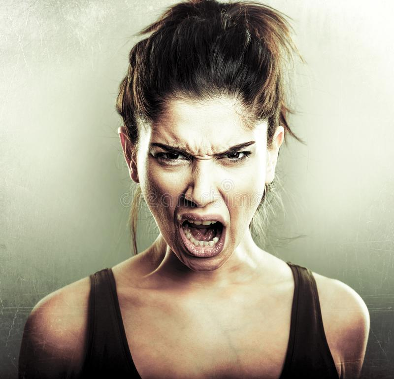 Face of angry mad furious woman royalty free stock photos