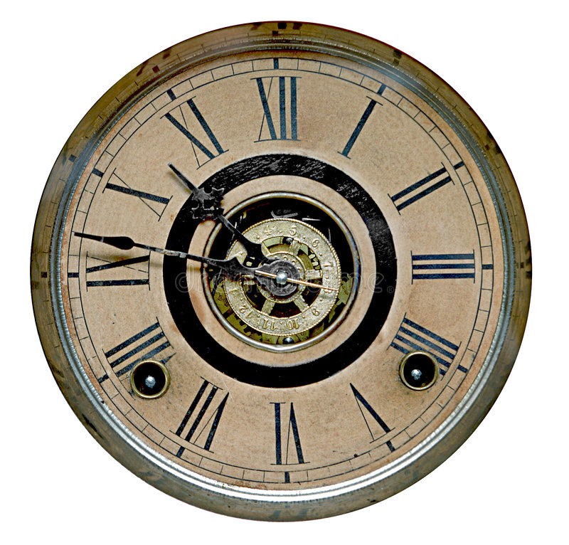 Face of antique grandfather clock stock image