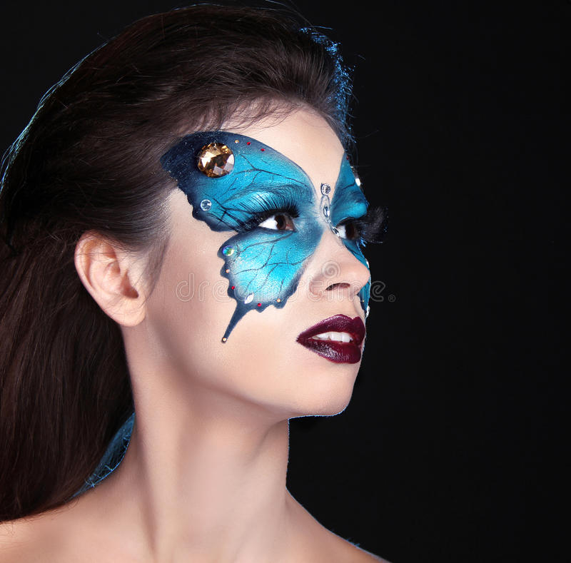 Face Art Portrait. Fashion Make Up. Butterfly Makeup On