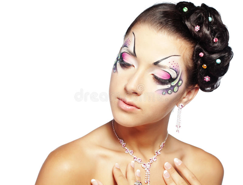 Face-arte e penteado da forma imagem de stock royalty free