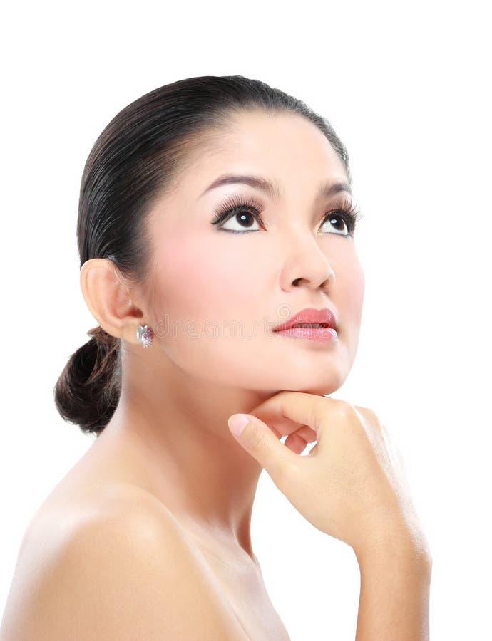 Face asiática bonita da mulher imagens de stock