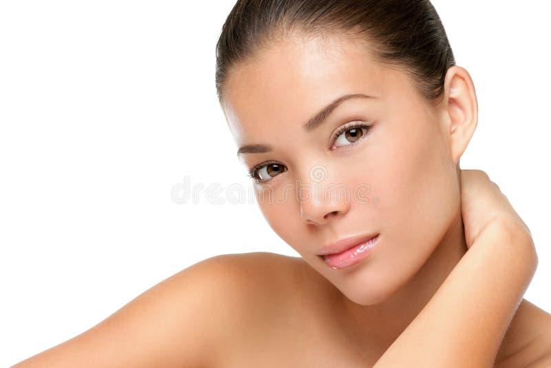 Face asiática da beleza da mulher imagens de stock