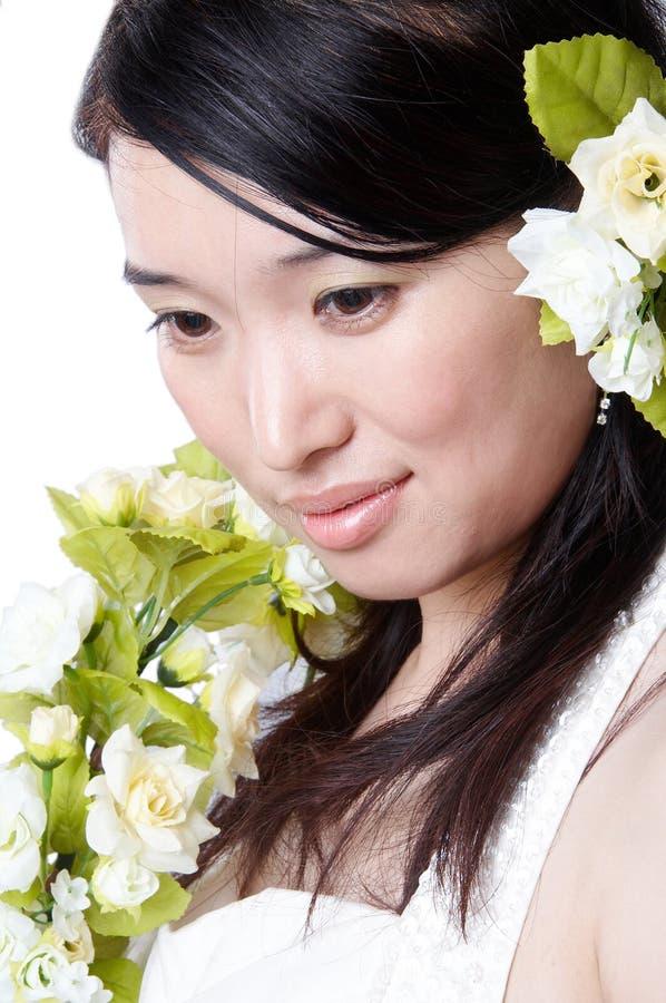 Face asiática da mulher fotografia de stock royalty free