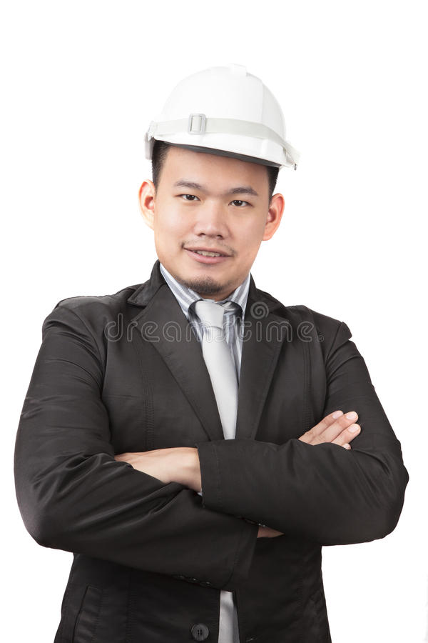 face of asian man civil engineer of construction industry business isolated white background stock photo