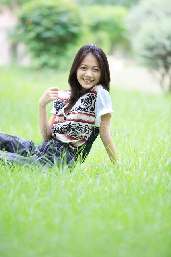 Download Face Of Asian Woman Relaxing Emotion  Sitting On G Stock Image - Image: 27747679