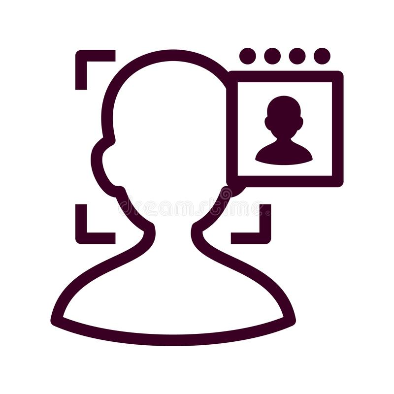 Face authentication outline icon. Facial biometric identity. Silhouette of male head in recognition camera vector illustration