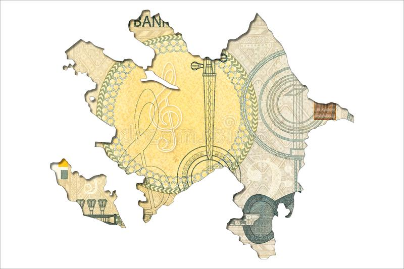 1 face azerbaïdjanaise de billet de banque de manat dans la forme de l'Azerbaïdjan illustration libre de droits